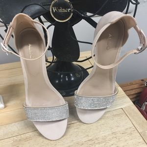 Aldo Beige Ankle Strap Shoes